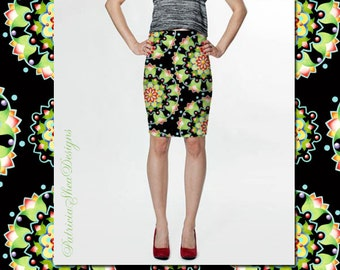 Fitted pencil spandex skirt in Firework Mandala pattern by Maine artist Patricia Shea