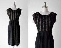 50's tan & black dress. 1950 lace dress. striped. silhouette dress. m. 1950's rayon dress. l.