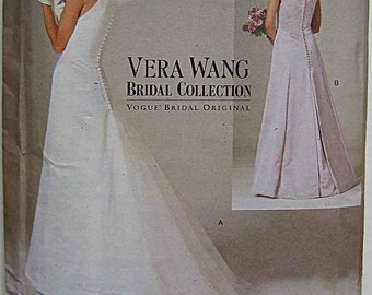 Vera Wang Misses' Sleeveless Wedding Gown Dress Vogue 2118 Sewing Pattern UNCUT Sizes 18, 20, 22