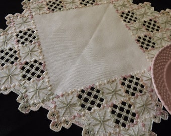 Hardanger Embroidery Doily Centerpiece - Pink and Green on Cream with Cut Out Detail