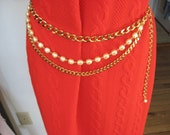 Reserved for AA  80's Gold Tone and Faux Pearl Belt Dynasty Necklace, Belt and Bracelet / 80's Three Piece Set / HIP HOP / 80's Bling Bling