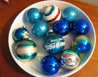 Vintage Christmas Ornaments / Old Glass Ornaments / Mixed Blue Glass Lot- some Striped / Blue Christmas / Set of 12 / Vintage Christmas