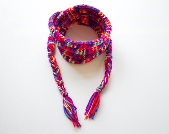 Harlequin Skinny Spaghetti Scarf - Purple and Red Colourful Skinny Scarf for Spring - Funky Spring Scarf
