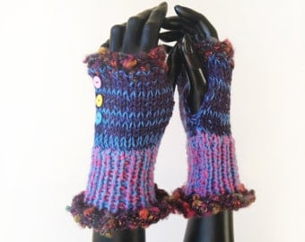 Fingerless Mittens • Wild Berry Frilly Fingers - Purple Fingerless Mittens • Soft Purple Fingerless Handwarmers, Gifts for Mum Birthday Gift