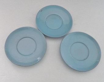 Frankoma Westwind Saucers Robin Egg Blue 6E - Lot of three