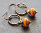 Orange Earrings // Czech Glass Earrings// Small Dangle Hoop
