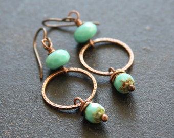 Turquoise Copper Dangle Earrings, Turquoise Hoop Earrings