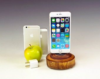 Docking station for ANY iPhone including 6 and 6 plus.. Includes wall charger. 729. Reclaimed log slice. Live edge. FAST shipping.