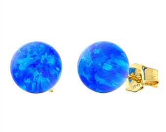 8mm Australian Pacific Blue Opal Ball Stud Post Earrings, Oceans, Solid 14K White or Yellow Gold, Blue Bridal Earrings, Blue Opal Earrings