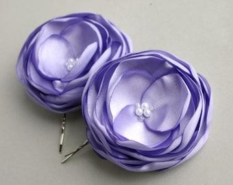 Lavender Flower Hair Clips, Light Purple Flower Hair Pieces, Bridesmaid Accessory, Purple Flower Girl Hairpieces, Flower Hair pins, Bridal