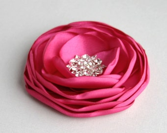 Pink Flower Hair Clip, Wedding Hair Accessory, Fuschia Flower Hair Pins, Hot Pink Flower Hair Piece, Bridal Headpiece, Flower Fascinator