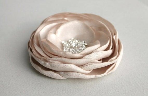 Gold Flower Hair Clip For Wedding, Gold Flower For Hair, Wedding Hair Accessories, Champagne Flower Hair Piece, Bridal Hair Accessory