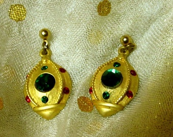 Vintage Christmas Earrings on posts with Green and Red Rhinestones