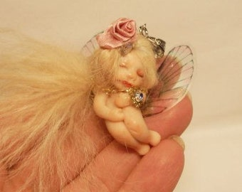 Ooak  Pendant Miniature little magic fairy  full sculpt handmade Fairy Dolls, collectible fairy dolls,  polymer clay dolls