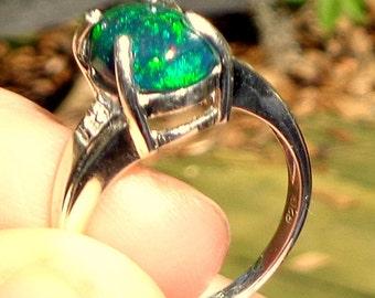 Black Welo Opal, Ethiopian Opal Ring, Welo Opal Ring, 925 Sterling Silver Ring, Natural Opal Gemstone Ring, OOAK