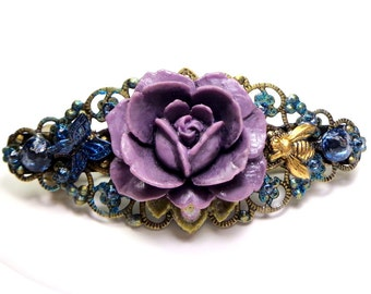 Lavender Rose Garden, Crystal Barrette,Butterfly & Bee,Vintage Style Filigree Barrette,Sexy Hair Jewellry,Bride Accessory,Bridesmaid Gift