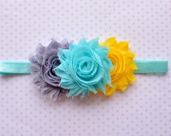 Gray, Aqua & Yellow Baby Headband. Flower Headband. Shabby Chic. Girls Hair Accessories. Grey, Aqua and Yellow Flower Headband. Flower Girl