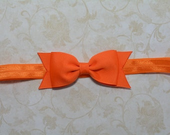 Orange Bow Headband. Orange Baby Headband. Baby Hair Accessories. Baby Girls Hair Accessories. Girls Hair Accessories. Orange Headband