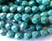 50 Czech Glass Fire Polish  in  a Green Turquoise Blue Snake Beads in size 6mm Round