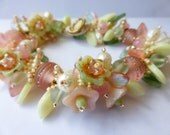 Made To Order   NEW Garden Bracelet KIT  in Pastel Peachy Pinks, Off Whites and Pale Greens with Artisian Handmade Glass Beads