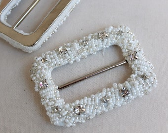 Beautiful  beaded   buckle 2   pieces listing 2 by 3 inch