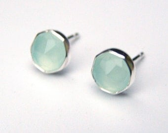Studs, Silver Earrings, Green Chalcedony Stud earrings ,Fine Silver Earrings with Chalcedony stone studs 6mm