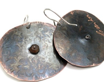 Copper earrings, Andalusite stone