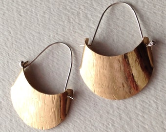 Crescent Earrings, Sterling Silver, Hammered Texture Brass, Handmade Earrings, Rustic Style, Hammered Brass, Crescent Earrings,