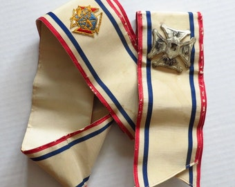 Vintage Knights of Columbus Parade Sash with Maltese Cross Badge