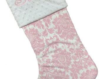 Christmas Stocking, Personalized Christmas Stocking Pink Damask Personalized Stocking With White Minky Cuff Color
