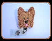 Retractable Badge Holder - Love My Yorkie - tan Yorkshire Terrier dog badge reel - Nurse RN office teacher veterinarian