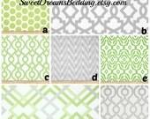 Custom Crib Bedding You Design   Bumper and Bedskirt Kiwi and Grey
