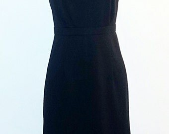 Vintage 1980s Black Party Dress - 80s Cocktail Dress - 80s Does 50s Wiggle Dress