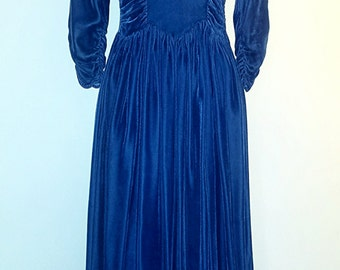 1930s Velvet Blue Gown - 1930s Long Vintage Dress
