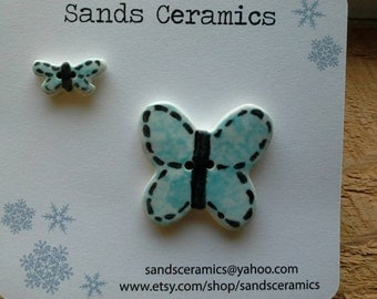 Ceramic Butterfly Button Blue large small