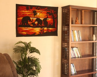 Batik Wall Hanging of Elephants in Sun Set - Tapestry Wall Art