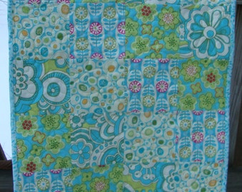 Quilted Table Topper Runner Park Slope Aqua Lime Cream