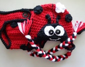 Diaper Cover/Ladybug  Hat Set for 0-3 Month Baby or Reborn Doll inRed and Black Trim