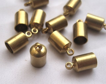 10pcs Brass End Caps for End Beads Gemstone Pendant Leather Cord Tube End Cap t048