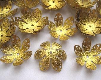 10pcs Large Bead Cap 27mm Flower Beadcap Brass Filigree ca019