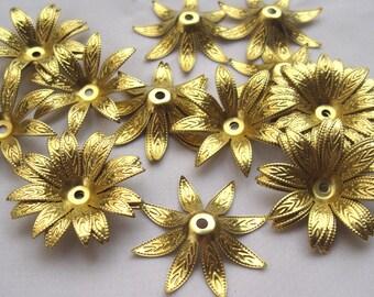 10pcs Brass Petals Bead Cap Flower Leaf Flower Filigree DIY Loose Findings bf161