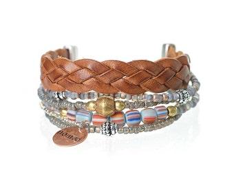 Multistrand bracelet set - woven leather bracelet - multiple strands bohemian bracelet - nomad bracelet - ethnic bracelet with african brass