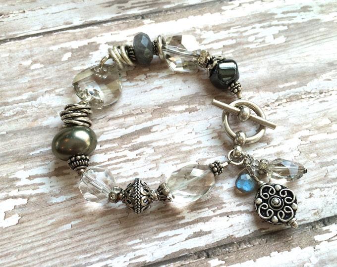 Chunky silver gemstone bracelet with Quartz, Swarovski, Bali Silver, Hematite and South Sea Pearl