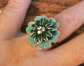 Adorable Blue Flower Adjustable Ring