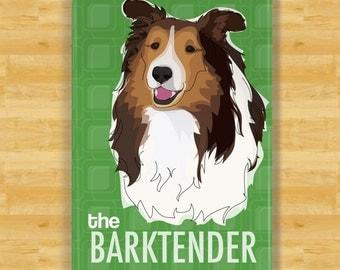 Sheltie Magnet - The Barktender - Shetland Sheepdog Sheltie Gifts Refrigerator Dog Fridge Magnets