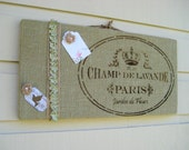Paris France designed pinboard made from sage green burlap with a natural burlap and ruffled satin ribbon accent, photo display, memo board