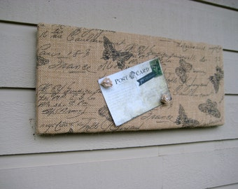 Burlap Bulletin Board, French themed printed with butterfly motif for your cottage or garden themed office, bedroom or kitchen