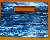 vintage 1980s BrightNavy BLUE Plastic Panel STRUCTURED Hand Clutch Bag Disco