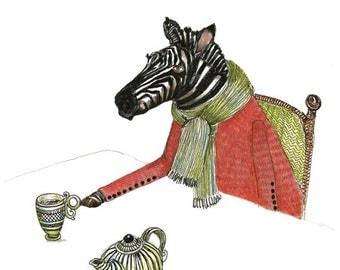 Zebra Print Zebra Tea Time illustration Print 8x11
