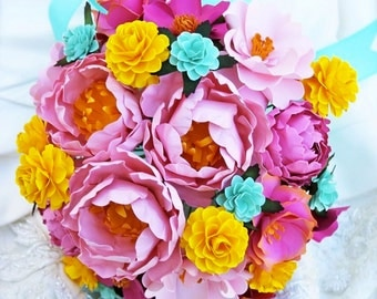 Pink, yellow and aqua - Paper Bouquet - Customize your Style and Colors - Made To Order